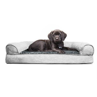 Furhaven Plush Orthopedic Sofa-Style Dog Bed Color: Gray, Size: Large (27 L x 36 W)