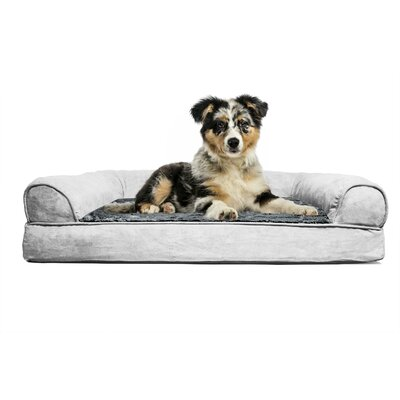 Blair Furhaven Plush Orthopedic Sofa-Style Dog Bed Color: Gray, Size: Small (20 L x 15 W)