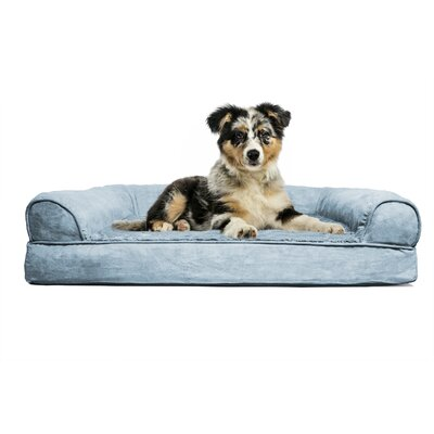 Blair Furhaven Plush Orthopedic Sofa-Style Dog Bed Color: Deep Pool, Size: Small (20 L x 15 W)