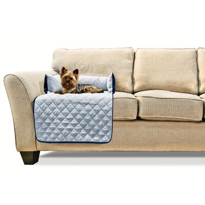 Buddy Quilted Box Cushion Sofa Slipcover Size: Small 18 W x 26 L, Color: Navy/Light Blue