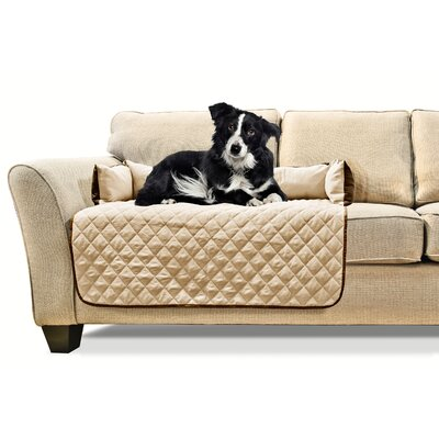 Buddy Quilted Box Cushion Sofa Slipcover Size: Medium 30 W x 26 L, Color: Espresso/Clay