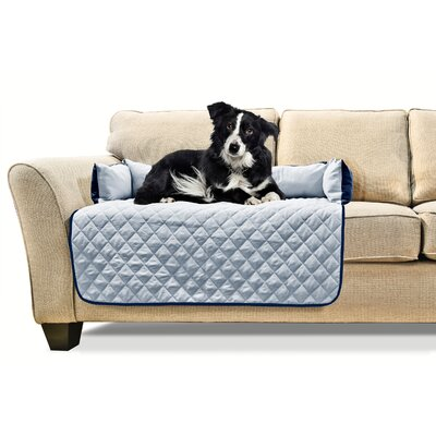 Buddy Quilted Box Cushion Sofa Slipcover Size: Medium 30 W x 26 L, Color: Navy/Light Blue