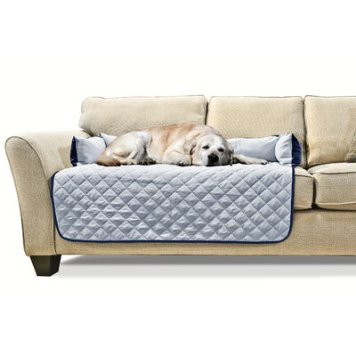 Buddy Quilted Box Cushion Sofa Slipcover Size: Large 42 W x 26 L, Color: Navy/Light Blue
