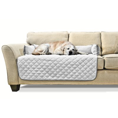 Buddy Quilted Box Cushion Sofa Slipcover Size: Large 42 W x 26 L, Color: Gray/Mist