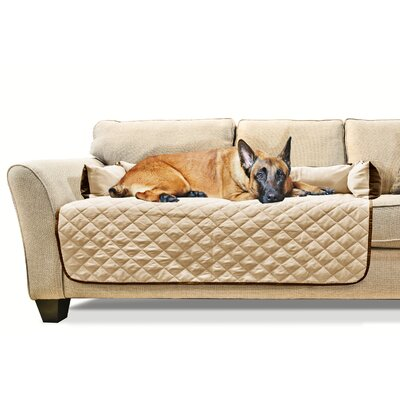 Buddy Quilted Fabric Sofa Slipcover Color: Espresso/Clay, Size: X-Large 54 W x 26 L