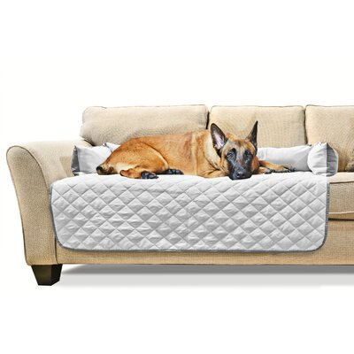 Buddy Quilted Box Cushion Sofa Slipcover Size: X-Large 54 W x 26 L, Color: Gray/Mist