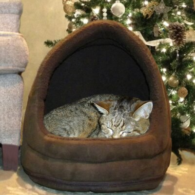 Snuggle & Terry Suede Hood Cat Bed Color: Espresso