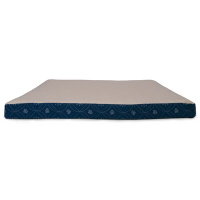Deluxe Paw Decor Memory Foam Dog Bed Color: Twilight Blue, Size: Medium (30 L x 20 W)