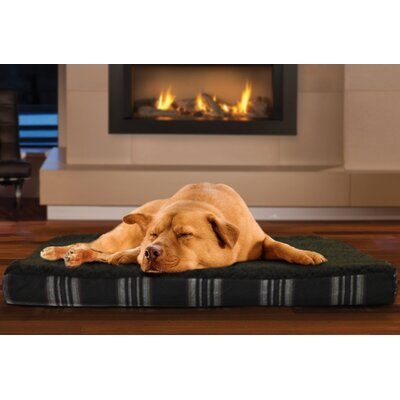 Boris Faux Sheepskin and Plaid Memory Foam Dog Bed Color: Smoke Gray, Size: Large (36 L x 27 W)