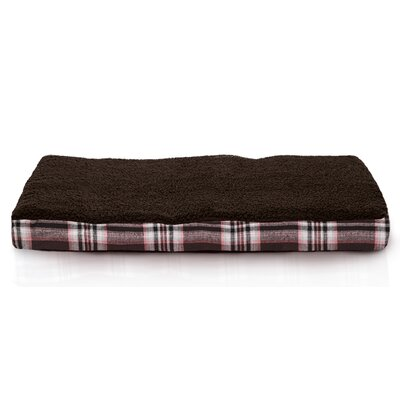 Boris Faux Sheepskin and Plaid Memory Foam Dog Bed Color: Java Brown, Size: Small (20 L x 15 W)