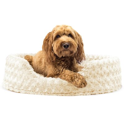 Ultra Plush Oval Pet Bed with Removable Cover Color: Cream, Size: Large (26 L x 21 W)