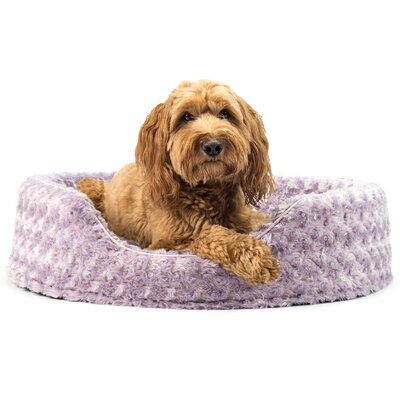 Ultra Plush Oval Pet Bed with Removable Cover Size: Large (26 L x 21 W), Color: Lavender
