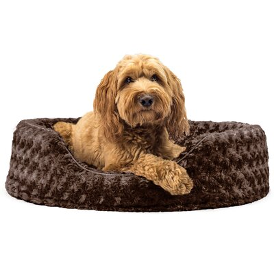 Bianca Ultra Plush Oval Pet Bed with Removable Cover Size: Large (26 L x 21 W), Color: Chocolate