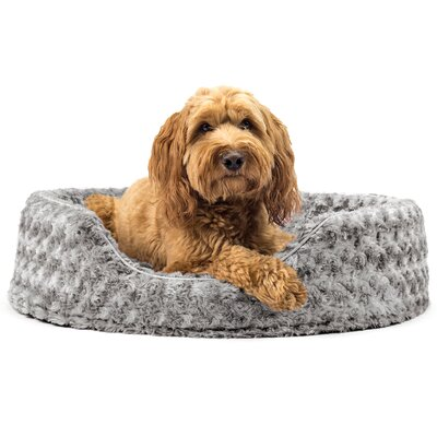 Ultra Plush Oval Pet Bed with Removable Cover Size: Large (26 L x 21 W), Color: Gray