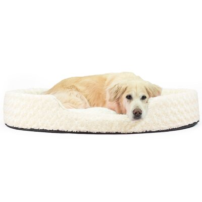 Ultra Plush Oval Pet Bed with Removable Cover Color: Cream, Size: Jumbo (42 L x 29 W)