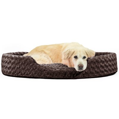 Ultra Plush Oval Pet Bed with Removable Cover Size: Jumbo (42 L x 29 W), Color: Chocolate