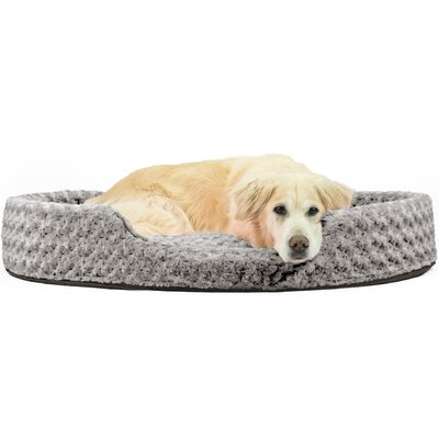 Ultra Plush Oval Pet Bed with Removable Cover Size: Jumbo (42 L x 29 W), Color: Gray