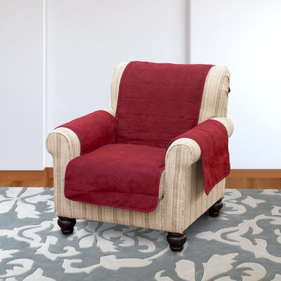 Suede Armchair Slipcover Color: Burgundy