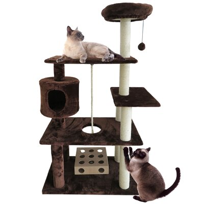 55 Ava Deluxe Cat Tree Color: Brown