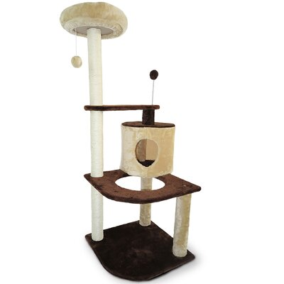 Furhaven Tiger Tough Round House Corner Playground Cat Tree