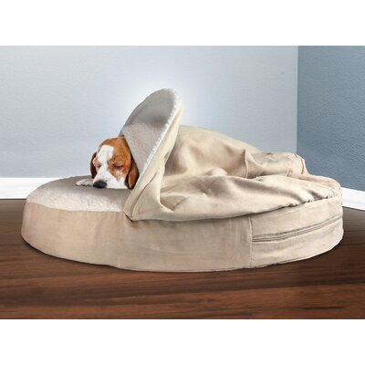 Snuggery Hooded Dog Bed Color: Cream, Size: 35 W x 35 D