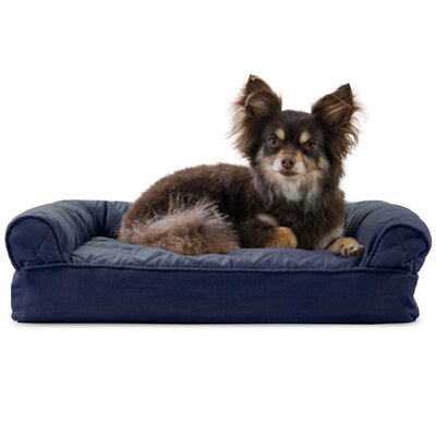 Dog Bolster Color: Navy, Size: 6 H x 20 W x 15 D