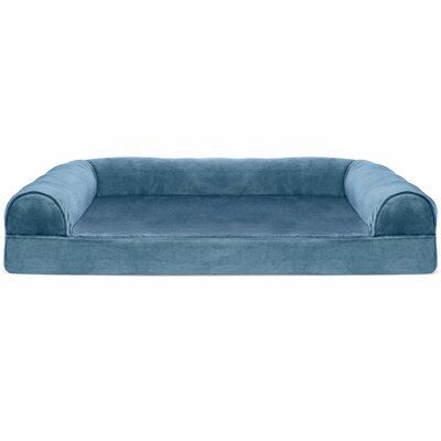 Caddy Faux Fur and Velvet Orthopedic Dog Sofa Color: Harbor Blue, Size: Extra Large (44 W x 35 D x 10.5 H)