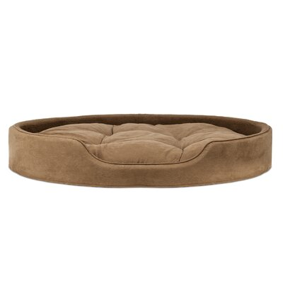 Blake Terry & Suede Pet Bed Size: Large (26 L x 21 W), Color: Camel