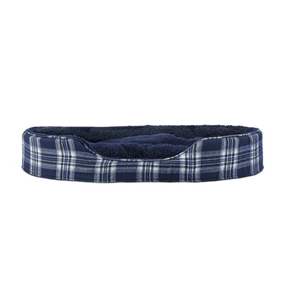 Snuggle Terry and Plaid Pet Bed Size: Medium (23 L x 18 W), Color: Midnight Blue Oval