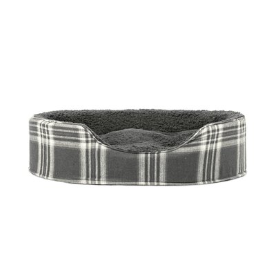 Blake Terry and Plaid Pet Bed Size: Medium (23 L x 18 W), Color: Smoke Gray Oval