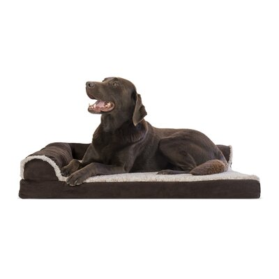Two-Tone Faux Fur and Suede Deluxe Orthopedic Dog Sofa Color: Espresso, Size: Large (36 W x 27 D x 7.5 H)