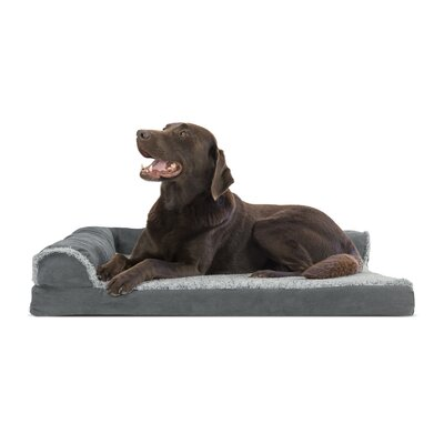 Two-Tone Faux Fur and Suede Deluxe Orthopedic Dog Sofa Color: Stone Gray, Size: Extra Large (44 W x 35 D x 8 H)