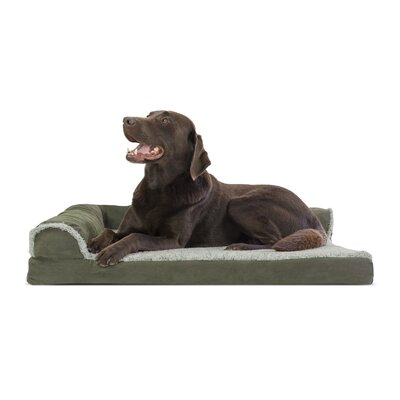 Callie Two-Tone Faux Fur and Suede Deluxe Orthopedic Dog Sofa Color: Dark Sage, Size: Small ( 20 W x 15 D x 5.75 H)