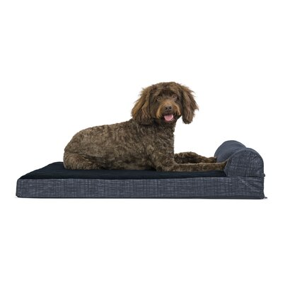 Colin Quilted Fleece and Print Suede Orthopedic Dog Sofa Color: Dark Blue, Size: Medium (30W x20 D x  6.75H)