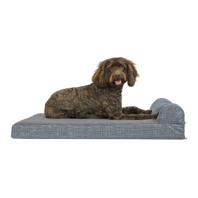 Colin Quilted Fleece and Print Suede Orthopedic Dog Sofa Color: Titanium, Size: Small  (20W x 15D x 5.75 H)