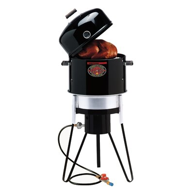 All-In-One Gas and Charcoal Single Burner Smoker and Grill with Fryer