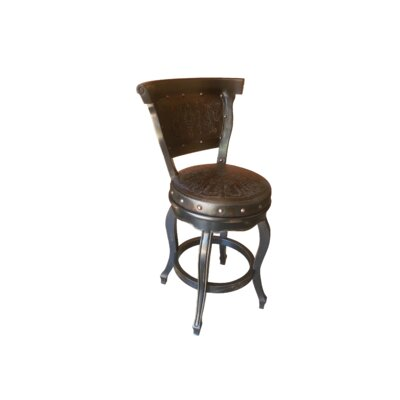 Spanish Swivel Bar Stool (Set of 4) Upholstery: Black