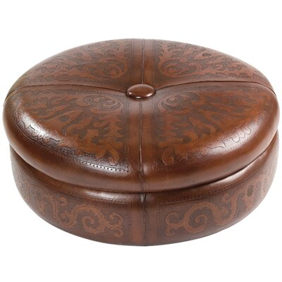 Colonial Leather Ottoman Upholstery: Antique Brown