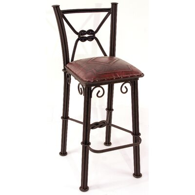 Western Iron Bar Stool Upholstery: Antique Red