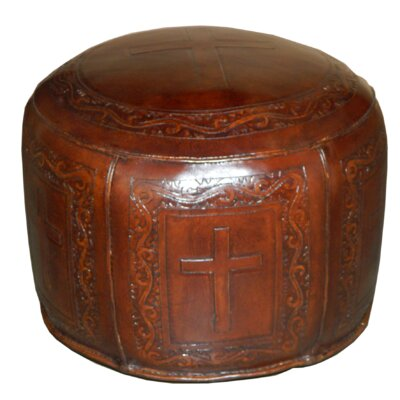 Roberto Round Handtooled Cross Leather Ottoman