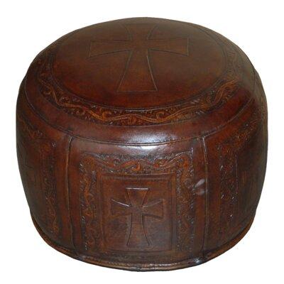 Roberto Handtooled Cross Leather Ottoman