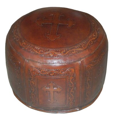 Roberto Contemporary Handtooled Cross Leather Ottoman