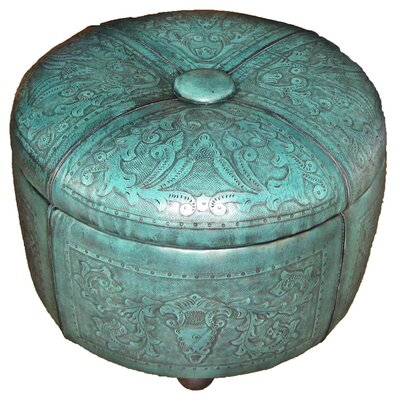 Colonial Bouquet Leather Storage Ottoman Upholstery: Turquoise