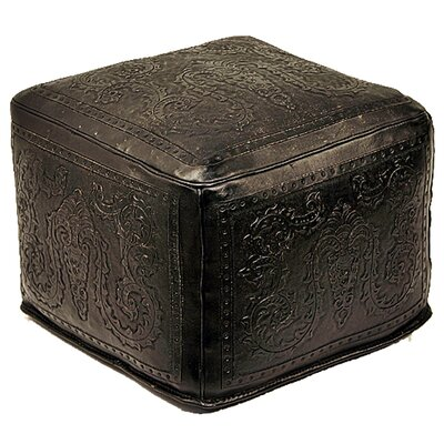 Colonial Leather Pouf Upholstery: Black