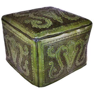 Colonial Leather Ottoman Upholstery: Green