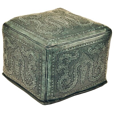 Colonial Leather Pouf Upholstery: Turquoise