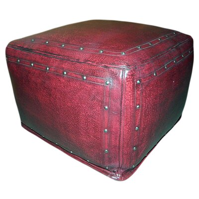 Leather Pouf Upholstery: Red