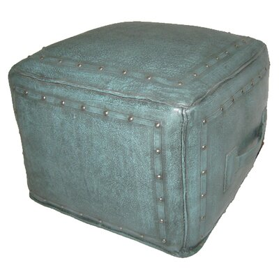Leather Ottoman Upholstery: Turquoise