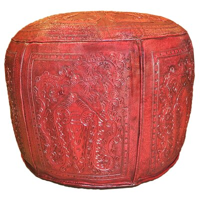 Colonial Leather Ottoman Upholstery: Red