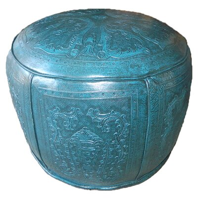 Colonial Leather Pouf Upholstery: Teal